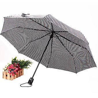 Grid Printing Automatic Rain Umbrella Three-fold Sunshade Sun Umbrella Uv Protection Parasol