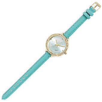 Montre-bracelet Quartz, Couleur Bleu métal, Crystallo, PU, L21,8xP3,5xA1 cm