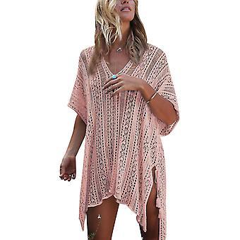 Traje de baño de playa para mujeres mangas encubrimientos bikini cover up net (rosa)