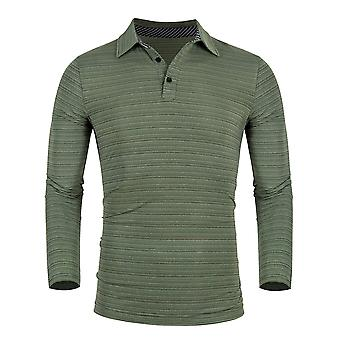 Men's Long Sleeve Golf T-shirts Casual Striped Collar Tops
