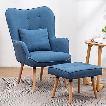 Leinen Wingback Lounge Sessel und Hocker