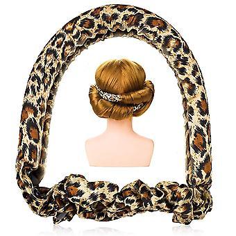 Heatless Curl Ribbon, Extra Large Ribbon Diy Big Barrel Curlers, Heatless Hair Curlers(Leopard)