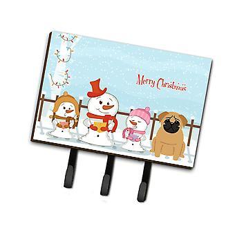 Caroline'S Treasures Merry Christmas Carolers Pug Brown Leash Or Key Holder Bb2338Th68, Triple, Multicolor