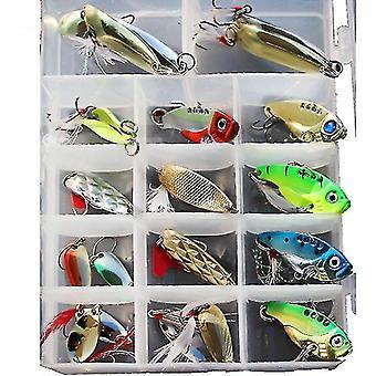 21pcs / set Metal Spoon Leurres de pêche Leurre Set VIB Poisson de mer Bass Appâts Crankbait Swimbait