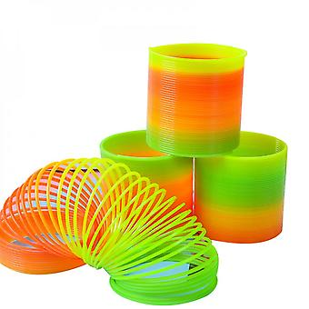 3pcs Rainbow Coil Spring Slinky Toy Giant Classic Novelty Plastic Magic Spring Toy