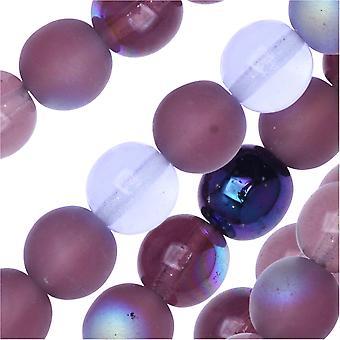 التشيكية الزجاج دروك الخرز، جولة 8mm، 50 قطعة، أرجواني الليلك ميكس