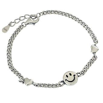 2PCS Silver plating Smiley Face Chain Bracelet New Fashion Creative Bracelet Elegant Birthday Party