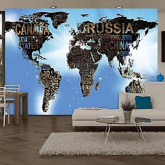 Papel de parede Globo - Mapa Mundial - Inspiração Azul