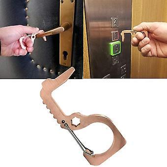 1pc Portable Antimicrobial Brass- Edc Door Opener Elevator Tool