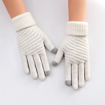 Gestrickte Ananas Muster Warme Wollhandschuhe Weiß