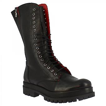 Leonardo Shoes Women's handmade lace-ups mid calf boots in black leather with side zip