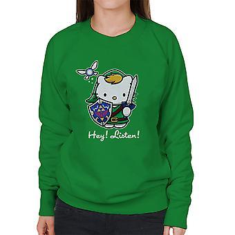 Hey Listen Link Hello Kitty Zelda Women's Sweatshirt