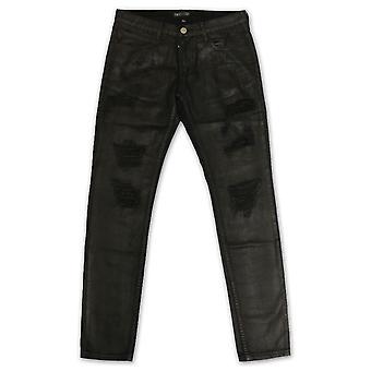 Verschönern Phantom Riss Standard Denim Jeans schwarz Wachs