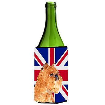 Grifón de Bruselas con inglés Union Jack británico bandera botella de vino bebidas Insul