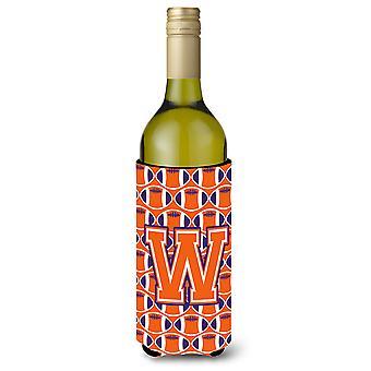 Letter W Football Orange, White and Regalia Wine Bottle Beverage Insulator Hugge