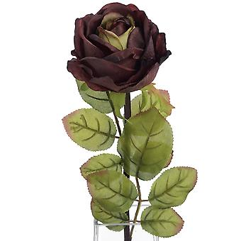 Hill Interiors Autumn Dark Red Single Artificial Flower Rose Stem