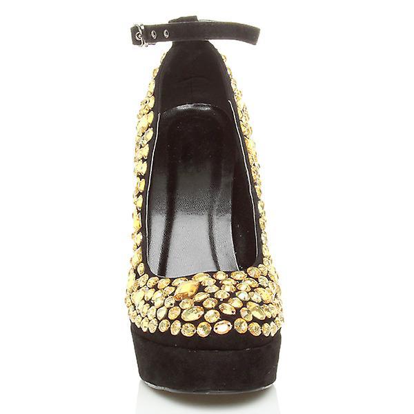 Ajvani womens gems diamante stiletto high heel platform party ankle strap sandals court shoes pumps