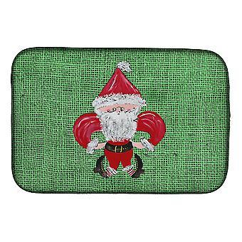 Carolines Treasures  8746DDM Christmas Santa Fleur de lis Dish Drying Mat