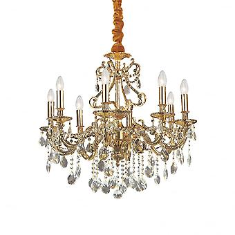 Ideale Lux Gioconda traditionele gouden plafond hanger met Diamante ontwerp 8 licht