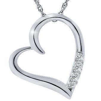 G/VS 钻石心脏吊坠 3-石 10K 白金,带 18+报价;链