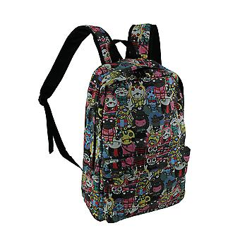 Colorful Cartoon Monster Mass Canvas Backpack