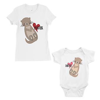 Motter Dotter äiti ja vauva vastaavat lahja t-paidat valkoinen