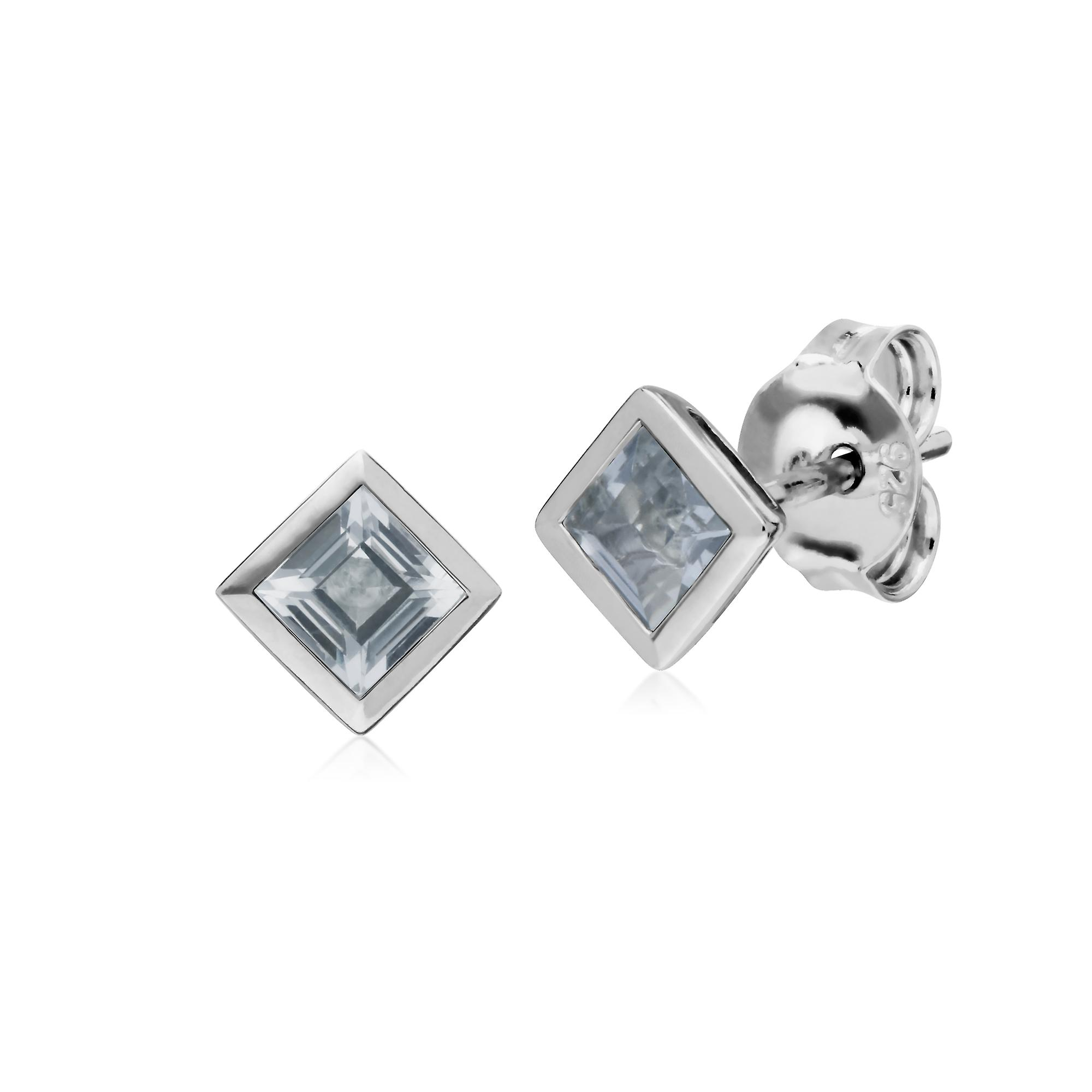 Gemondo Sterling Silver Simple Clear Topaz Bezel Square Stud Earrings