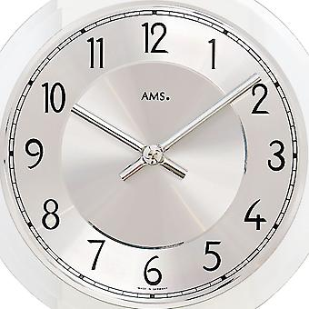 AMS 7414 wall clock pendulum wooden case mineral glass crystal