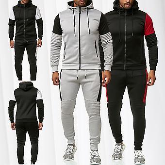 Dres męski zestaw komplet Bluza z kapturem Zip dres spodnie fitness Sport paski MIAMI