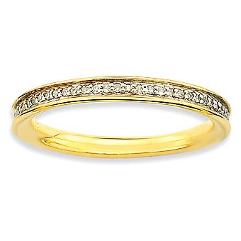 925 Sterling Silver Polished Prong set Stackable Expressions and Diamonds 14k Gold Plated Ring Jewelry Gifts for Women -