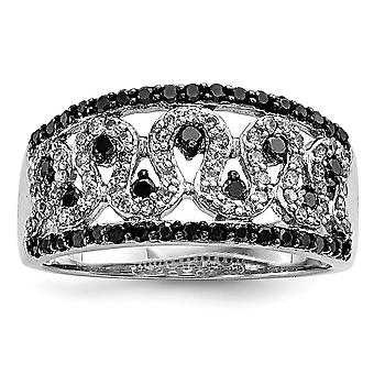 925 Sterling Silver Polished Prong set Gift Boxed Rhodium plated Black and White Diamond Cigar Band Ring Jewelry Gifts f