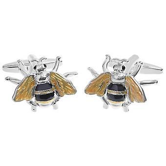Zennor Bee Manchetknopen - geel/zwart/zilver