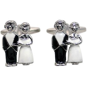 Zennor Just Married Cufflinks - Black/White/Silver