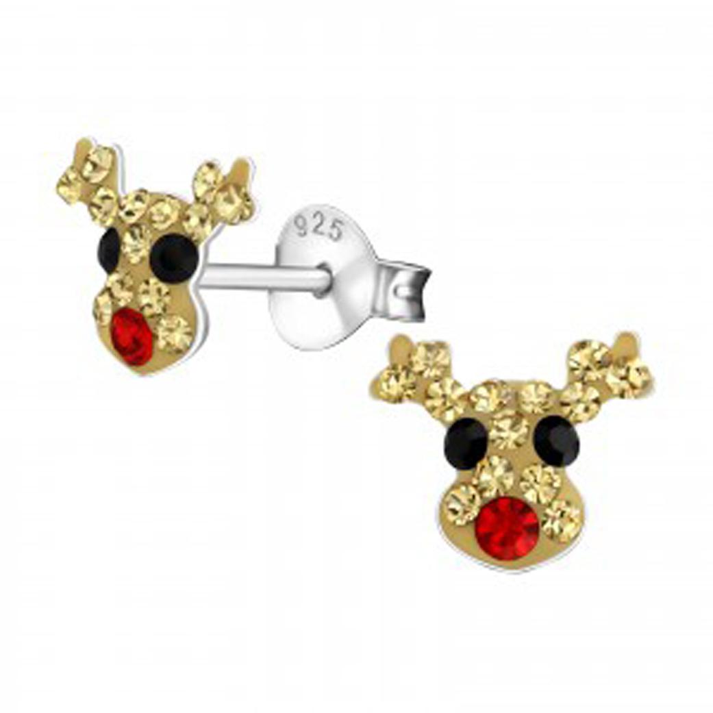 Girls rudolph and his red nose crystal stud earrings