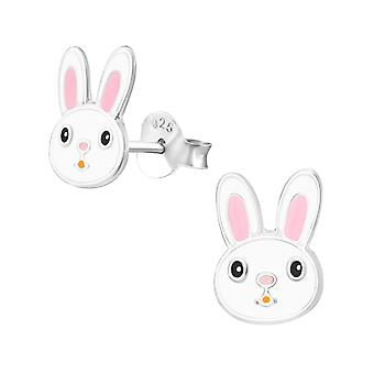 Rabbit - 925 Sterling Silver Colourful Ear Studs - W37111X