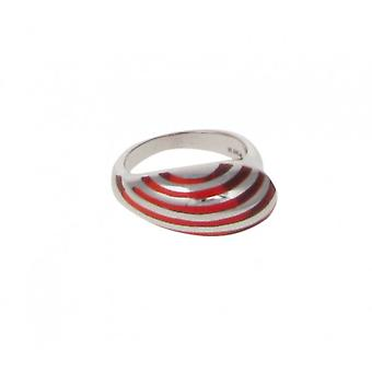Cavendish French Sterling Silver and Red Resin Stripe Teardrop Ring