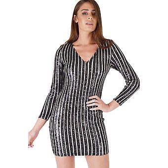 WYLDR Nude Bodycon Dress With Black Sequin Stripes