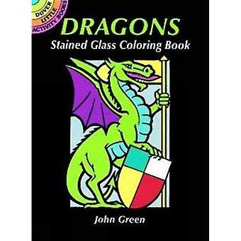 Drachen Glasmalerei Malbuch