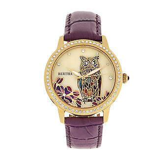 Bertha Madeline MOP Leather-Band Watch - Plum