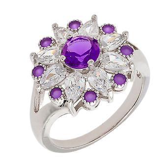 Bertha Juliet Collection Women's 18k WG Plated Purple Floral Statement Fashion Ring Size 7