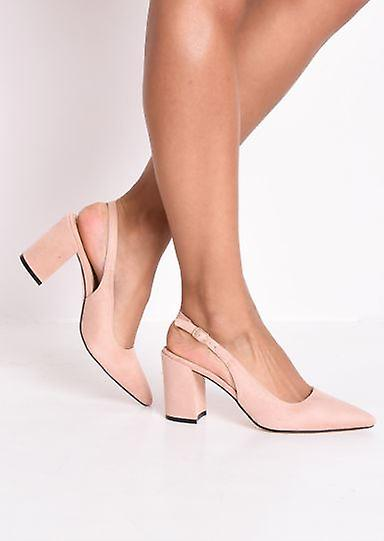 Slingback Suede Court Block Heeled Sandals Pink UEDix