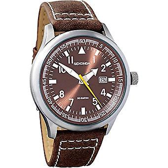 Sekonda quartz analogue dial, Brown and black leather strap, 3882.27