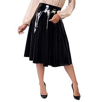 KRISP alta cintura Full Midi falda PVC falso cuero brillante mojado mirada