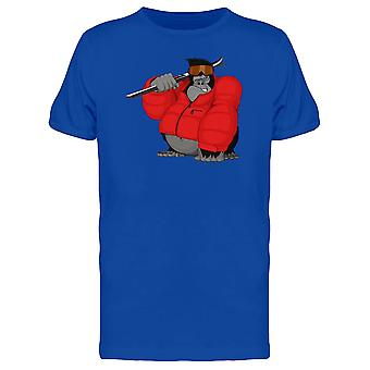 Gorilla Snowboarder Red Clothes Tee Men's -Image by Shutterstock