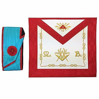 Masonic Blue Lodge worshipful Master Mason Apron and sash set