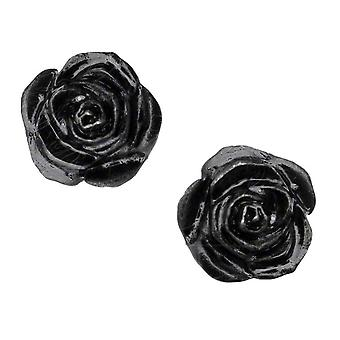 Alchemy Gothic Black Rose Pewter Stud Ohrringe