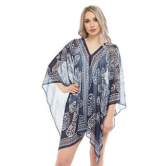 Seaspray SY008202 Women's Paisley Blue Beach Dress Cover Up Multiway Kaftan