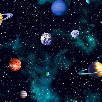 Cosmos Charcoal Wallpaper Space Planets Galaxy Stars Earth Bedroom Arthouse