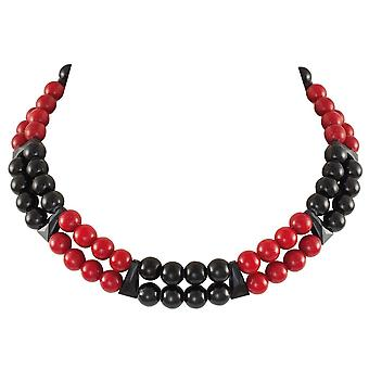 Eternal Collection Finale Red/Black Mountain Jade And Crystal Statement Necklace
