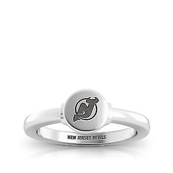 New Jersey Devils Engraved Sterling Silver Signet Ring
